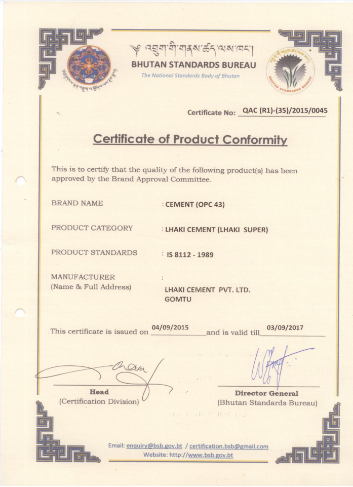 Products & Quality Assurance | Lhaki Cement